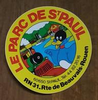 AUTOCOLLANT  STICKER - LE PARC DE SAINT-PAUL 60650 SAINT-PAUL ROUEN - PARC D'ATTRACTIONS - TRAIN - MANÈGE - CANARD - Pegatinas