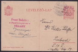 Baranya, 1920, 30 Fil. Postcard, Sent From Villany To Ljubljana, Slightly Creased Left Lower Corner - Baranya