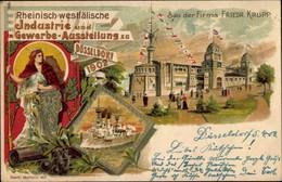 Lithographie Düsseldorf Am Rhein, Industrie- Und Gewerbeausstellung 1902, Bau Der Firma Friedrich Krupp - Other