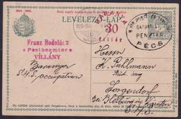 Baranya, 1920, 30 Fil. Postcard, Sent From Villany To Sorgendorf - Baranya