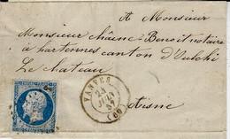 1857- Enveloppe De VANVES  ( 60 ) Cad T15 Affr.  N° 14 Oblit.  P C 3486 - 1801-1848: Vorläufer XIX