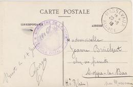 Alsace Reconquise, CP (Brest) Sur 5c Semeuse, Pour Massevaux Alsace (T 200) Le 20/6/16 + Contrôle Postal (violet) - Alsace-Lorraine