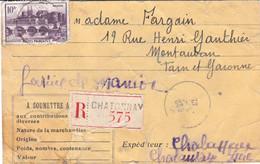 10F Angers Seul Sur étiq En Carton Envoi Rec 500g De Farine De Manioc Chatonnay Isère 26 10 42 Pr Montauban - 1921-1960: Moderne