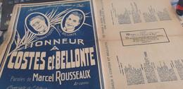 AVIATION /HONNEUR A COSTES ET BELLONTE /MARCEL ROUSSEAUX /HOMMAGE A NUNGESSER ET COLI - Partitions Musicales Anciennes