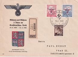 BOHEME ET MORAVIE 1942 LETTRE RECOMMANDEE DE PRAHA - Briefe U. Dokumente