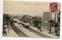 92 COLOMBES Gare Des Voyageurs Train Micheline Quais Voies 1937 écrite Timb  D04 2021 - Colombes