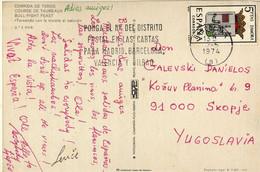 Spain Postcard,Corrida De Toros,1974 Via Yugoslavia,machine Stamp,slogan/flamme - 1971-80 Covers