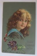 Geburtstag, Kinder, Mode, Blumen, Veilchen,    1912, Prägekarte  ♥ (28477) - Sonstige