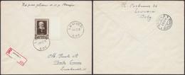Littérateur Belge - N°897 Seul Sur L. En Recommandé De Leuven C3C (1952) > Bâle (Suisse) - Lettres & Documents