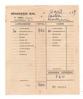 Facture Brasserie IEHL F. Péri à Montréjeau En 1959 - Format : 16x13.5cm - Invoices