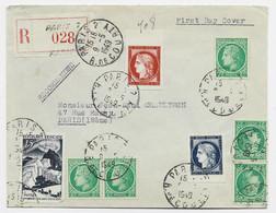 CENTENAIRE CERES 15FR+25FR+ MAZELIN 2FRX5+ 15FR POLAIRE LETTRE REC PARIS 9.5.1949 1ER JOUR CENTENAIRE - 1921-1960: Periodo Moderno