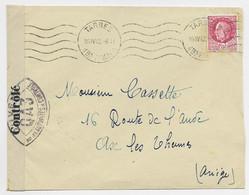PETAIN 1FR50 ROSE SEUL LETTRE TARBES 16.IV .1942 HTES PYRENEES POUR AX ARIEGEBANDE CENSURE CONTROLE + QA3 - 2. Weltkrieg 1939-1945
