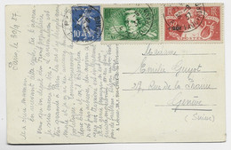 SURTAXE 40C BERLIOZ + 50C ARTS PENSEE +10C SEMEUSE CARTE PARIS 31.9.1937 POUR SUISSE AU TARIF - 1921-1960: Modern Tijdperk