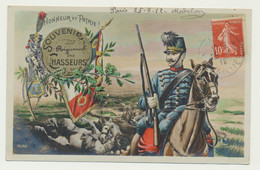 Carte Fantaisie Illustrée Militaire Patriotique - Soldat  - Souvenir Du Régiment Des Chasseurs.... - Guerra 1914-18