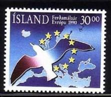 ISLAND MI-NR. 730 POSTFRISCH(MINT) MITLÄUFER 1990 JAHR DES TOURISMUS VOGEL - Europese Gedachte