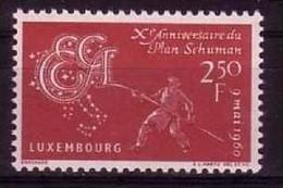 LUXEMBURG MI-NR. 620 POSTFRISCH(MINT) MITLÄUFER 1960 - SCHUMAN PLAN - Europäischer Gedanke