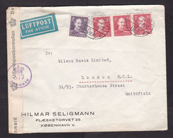 Denmark: Airmail Cover To UK, 1945, 4 Stamps, King, Censored, Censor Label & Cancel, World War 2, WW2 (damaged: Fold) - Lettere