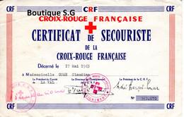 Diplome Croix Rouge Francaise Certificat De Secouriste 1963 Come Claudine La Val - Diploma & School Reports