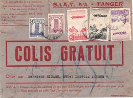 Envoi Gratuit 3 Kg Café Vert Tanger 1947 Afft 89F Dont PA 50F Avion Survolant Une Palmeraie - Covers & Documents