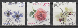 2004_timbres Personnalisés Oblitérés_YT 3623J - L - M_Fleurs / 3 X Used Personalized Stamps_Flowers - Oblitérés