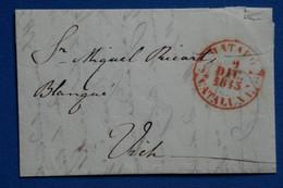 V6 ESPAGNE BELLE LETTRE  1845 CATALUNA MATARO ROUGE   POUR VICH + AFFRANCH. PLAISANT - ...-1850 Vorphilatelie