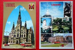 2 X Reichenberg - Liberec - Rathaus - Alter Bus - Straßenbahn Wappen Jeschken - Tschechien Böhmen - Postkarte 1987 - República Checa