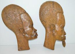 2 PROFILS BOIS Sculpté HOMME Et FEMME AFRICAINS SCULPTURE AFRIQUE ANCIENS Déco COLLECTION DECO VITRINE - Legni
