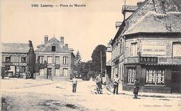 76 - LUNERAY Place Du Marché ( Façade Café - Tabac En Bon 1er Plan - Animation ) CPA Village ( 2.180 H ) Seine Maritime - Other Municipalities