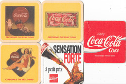 Lot De 5 Sous-bocks (sous-verre) Coca-Cola Anciens - Experience The Real Thing - Portavasos