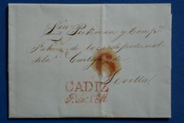 H2 ESPAGNE BELLE LETTRE 1842 CADIZ POUR SEVILLA+ TAXE 6 REALS + AFFRANCH. INTERESSANT - ...-1850 Voorfilatelie