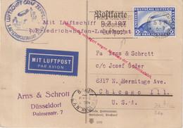 "ALLEMAGNE  : PA . VOL  ZEPPLIN .  "" AMERIKAFARHRT LZ 127 "" . POUR CHICAGO .  1929 . - Briefe U. Dokumente"