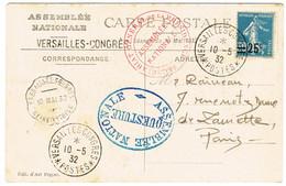 CAD VERSAILLES CONGRES POSTE ET DIVERS TAMPON ASSEMBLEE NATIONALE 10/05/32 - 1921-1960: Periodo Moderno