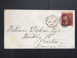 GB Victoria 1863 Cover London To Preston Tied With 1d Red Star - Briefe U. Dokumente