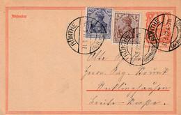 Postkarte Ganzsache Deutsches Reich Rünthe Kreis Hamm Vom 31.3.1922 - Gebruikt