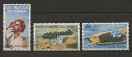 COTE DES SOMALIS 1947 . Poste Aérienne N°s 20 , 21 Et 22 . Oblitérés . - Oblitérés