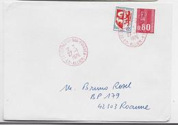 BEQUET 80C+5C BLASON LETTRE CACHET ROUGE 03 ST GERMAIN DES FOSSES 27.1.1976 ALLIER - Bolli Manuali