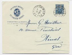 JEANNE D'ARC 50C LETTRE COVER ENTETE LE GOLF HOTEL ET GRAND HOTEL SABLETTES LES BAINS VAR 1929 LA SEYNE - 1921-1960: Moderne