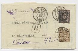 SAGE 25C+30C LETTRE REC ST ETIIENNE 8 FEVR 1895 LOIRE - 1877-1920: Semi-Moderne