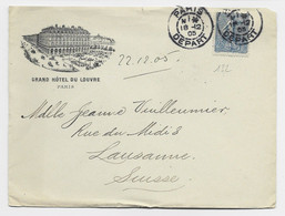 N° 132 LETTRE ENTETE GRAND HOTEL DU LOUVRE PARIS DEPART 18.12.05 POUR SUISSE - 1921-1960: Modern Period