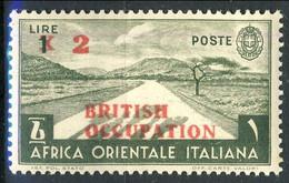 British Occupation AOI 1941 Sass. N. 7 -  Lire 2 Au 1 Verde Oliva. **MNH LUX Cat € 500 Firma E. Diena - Unused Stamps