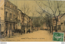 D34  LUNEL  Cours Valaroura - La Poste  ............  Carte Toilée - Lunel