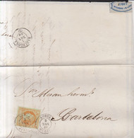 Año 1860 Edifil 52 Sello 4c  Isabel II Carta Matasellos Lorca Murcia Membret Joaquin .M.Barberan - Covers & Documents