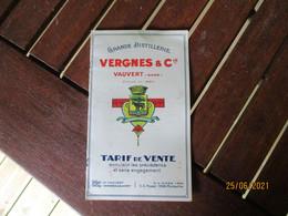 Vauvert Vergnes Et Cie Grande Distillerie  Pastis Provencal Suix 45 Tarif - 1900 – 1949