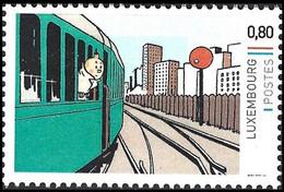Timbre Privé** - Tintin, Milou, Train / Kuifje,Bobbie, Trein / Tim,Struppi, Zug / Tintin,Snowy, Train (Hergé) - Treni