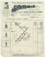 FACTURE-COURRIER- LETTRE : DEBEAUPUIS-VERON, Vins, Spiritueux, Liqueurs - Montlhery - 1900 – 1949