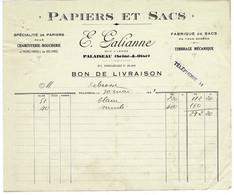 FACTURE-COURRIER- LETTRE : E.GALIANNE, Papiers Et Sacs . Palaiseau. - 1900 – 1949