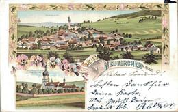 80350- Litho Gruss Aus Neukirchen Heiligen Blut Mit Franziskanerkloster Und Pfarrkirche 1902 - Cham