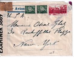 1942 - ENVELOPPE De NICE (ALPES MARITIMES) ! CENSURE => NEW YORK (USA) !! - 2. Weltkrieg 1939-1945