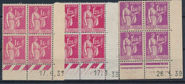 EC-357: FRANCE: Lot Avec Coins Datés** N°369-370(traces Au Verso)-371 - 1930-1939