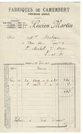 FACTURE-COURRIER- LETTRE : LUCIEN MARTIN , Fabriques De Camenbert , Sassy, Flers , Cagny . - 1900 – 1949